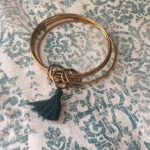 *FREE W/BUNDLE* Bronze + Green Tassel Bangle